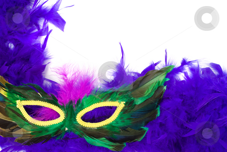 Closeup Feathered Mask stock photo, Closeup view of a feathered masquerade mask, isolated against a white background by Richard Nelson