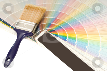 Paint Hues stock photo, Assorted colored hues shot along with a paint brush by Richard Nelson