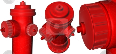 Multiple red Hydrant stock photo,  by Rodolfo Clix
