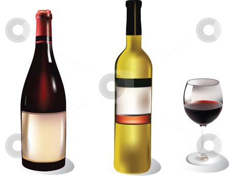 Two wine bottle and a wine glass stock vector clipart,  by Adelina Green