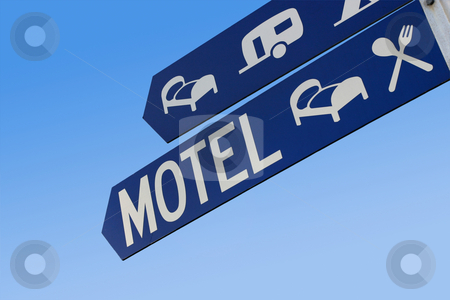 Motel sign stock photo, A blue street sign shows the way to accommodation by Angus Benham
