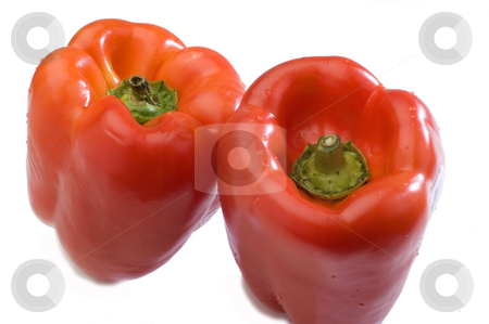 Two red peppers stock photo, Two red peppers on a white background by Jonathan Hull