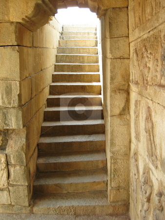 Ancient Stairs stock photo, Light spilling down an ancient stairway by Colin Elves