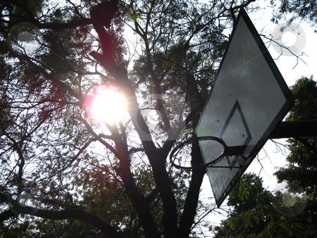 Basketball ring stock photo, A basketball ring and backboard, with the sun behind by Colin Elves
