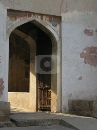 Old Doorway stock photo, Evening light streaming through an old doorway by Colin Elves