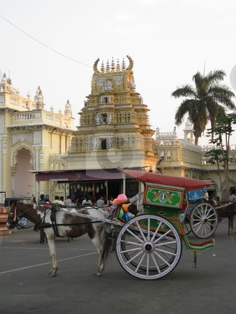 Tourist Taxi stock photo, A colourful chariot for the enjoyment of tourists, Mysore, India by Colin Elves