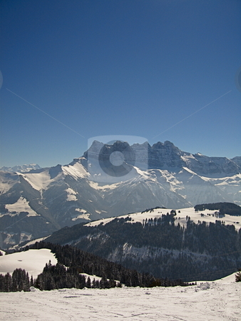 Clear Mountain View stock photo, A view of the French Alps by Colin Elves