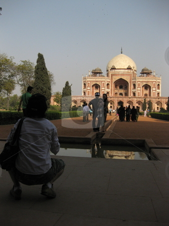 Classic Tourist Pictures stock photo, Some tourists in front of Humyan's Tomb, New Delhi, India by Colin Elves