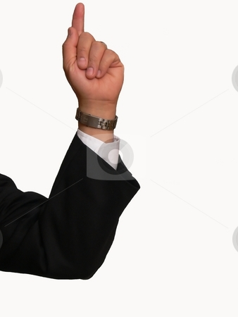 Businessman pointing finger   stock photo, A businessman is pointing his finger for attention. On white background. by Horst Petzold