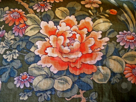 Cabbage Rose stock photo, Vintage fabric in a cabbage rose print by Sandra Fann