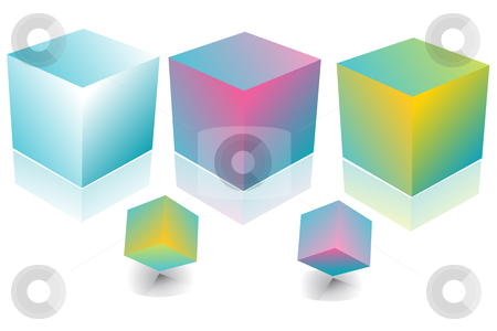 3D Boxes in diferent colors stock vector clipart,  by Adelina Green