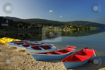 Early summer morning on the lake. stock photo, Very early in the morning, one summer's day, on the shore of the Lac de Joux, Switzerland by Alistair Scott