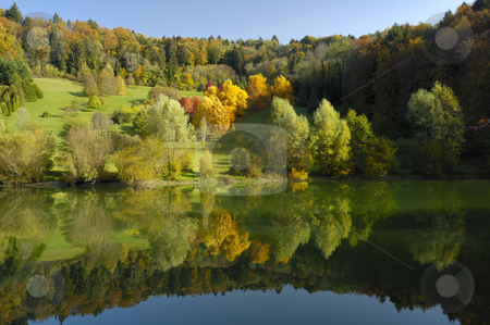 Figure in an autumn landscape. stock photo, The colours of autumn in an arboretum. Taken in the early-morning light, under a clear blue sky. The flame-like colours of the trees are reflected in the stil waters of a lake. A tiny figure can be seen walking past the brightest trees. by Alistair Scott