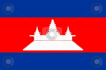 Flag Of Cambodia stock photo, 2D illustration of the flag of Cambodia by Tudor Antonel adrian