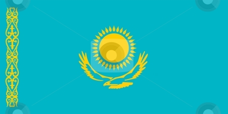 Flag Of Kazakhstan stock photo, 2D illustration of the flag of Kazakhstan by Tudor Antonel adrian