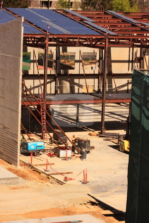 Construction Site stock photo, Construction site of a commercial office complex, structure made of concrete and steel building materials by Richard Clack