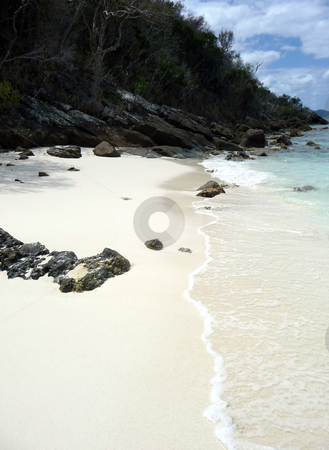 Secluded sandy cove on tropical island stock photo, Quiet secluded sandy cove on a tropical island by Jill Reid