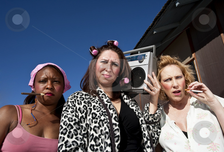 Three Trashy Women  stock photo, Portrait of three trashy women outdoors by Scott Griessel