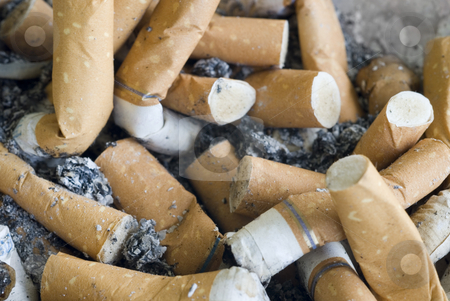 Cigarette butts stock photo, An ashtray full of ash and cigarette butts by Stephen Gibson