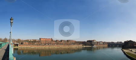 Panoramic picture Toulouse city in France stock photo, Toulouse city panoramic image from Saint Pierre bridge on the Garonne river by Laurent Dambies