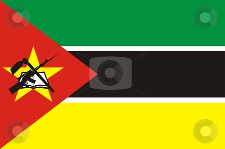 Flag Of Mozambique stock photo, 2D illustration of the flag of Mozambique by Tudor Antonel adrian