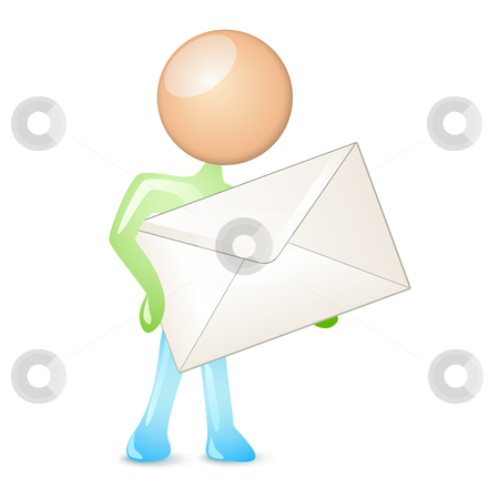 Mailing humanoid stock vector clipart, Humanoid holding a mail in envelope by Laurent Renault