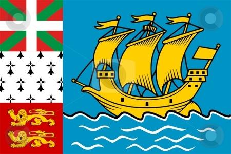 Flag Of Saint Pierre And Miquelon  stock photo, 2D illustration of the flag of Saint Pierre And Miquelon by Tudor Antonel adrian