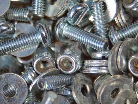 Nuts, bolts and washers.       stock photo, Close up photo of  nuts, bolts and washers. by Ian Langley