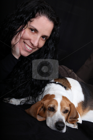 Love My Dog (Beagle) stock photo, Girl lying down with her dog (Beagle) by Gregg Cerenzio