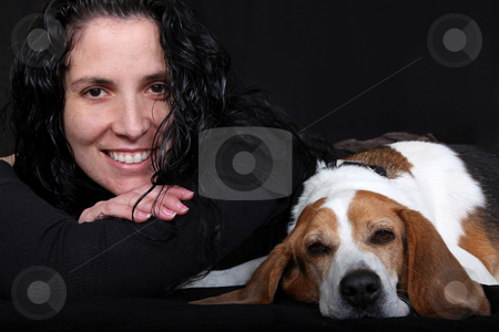 Lady & Her Dog  (Beagle) stock photo, Pretty Girl lying down and smiling with her Dog. (beagle) by Gregg Cerenzio