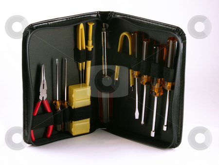 Computer repair tool kit stock photo, Computer repair tool kit on a white background. by W. Paul Thomas