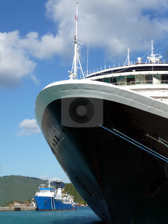 Front of cruise ship at the dock stock photo, Perspective of the front of a large cruise ship at a dock by Jill Reid