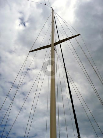 Looking up sailboat mast stock photo, View up through sailboat mast on a cloudy day by Jill Reid