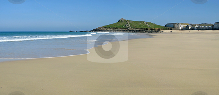 Panoramic view of the sandy Porthmeor beach in St. Ives, Cornwall UK. stock photo, Panoramic view of the sandy Porthmeor beach in St. Ives, Cornwall UK. by Stephen Rees