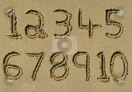 Numbers one to ten written on a sandy beach. stock photo, Numbers one to ten written on a sandy beach. by Stephen Rees