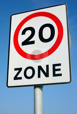 British 20 miles an hour limit zone sign. stock photo, British 20 miles an hour limit zone sign. by Stephen Rees