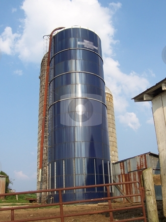 Large Storage Silo stock photo, This 60-foot silo holds feed such as corn, alfalfa, and hay for farm animals. by Krystal McCammon