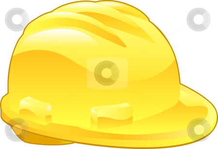 Shiny Yellow Hard Hat Illustration stock vector clipart, An illustration of a shiny yellow hard hat by Christos Georghiou