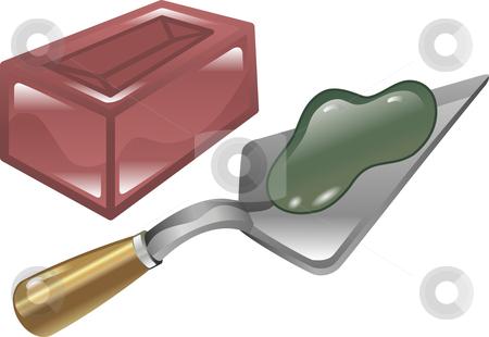 Brick mortar and trowel illustration stock vector clipart, Red brick mortar and trowel shiny icon illustration by Christos Georghiou