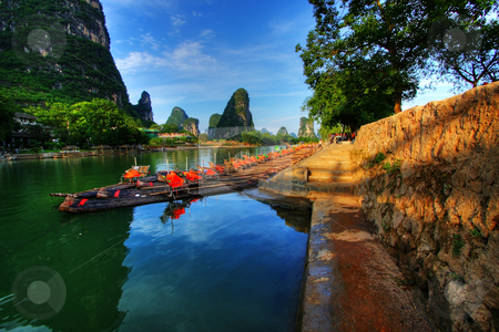 Bamboo Rafts stock photo, Li river karst mountain landscape in Yangshuo, China by Christopher Meder