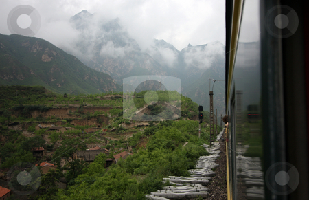 Mountain landscape stock photo, Green and lush mountain landscape in China by Christopher Meder
