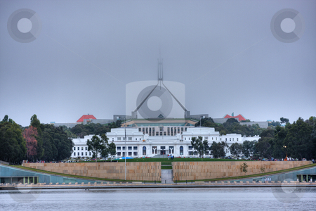 Australian Parliament in Fog stock photo, Australian Parliament house covered by morning fog by Christopher Meder