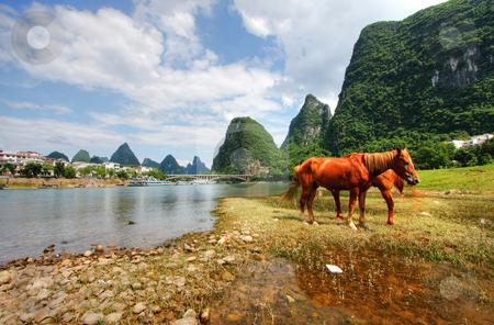 Mountain landscape stock photo, Li river karst mountain landscape in Yangshuo, China by Christopher Meder