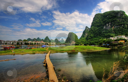 Li river karst mountain landscape stock photo, Li river karst mountain landscape in Yangshuo, China by Christopher Meder