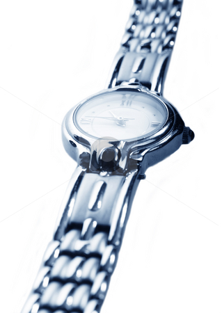 Ladies stainless steel watch stock photo, Ladies stainless steel watch on white background by Christopher Meder