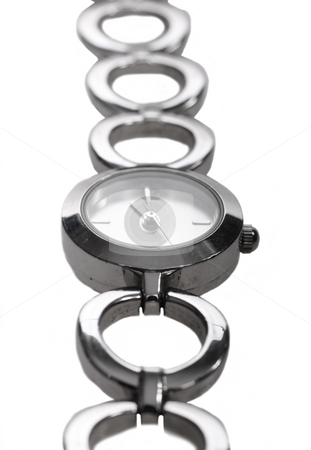 Ladies stainless steel watch on white background stock photo, Ladies stainless steel watch on white background by Christopher Meder