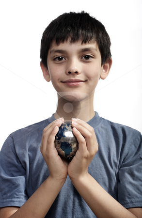 Global Earth Care stock photo, Global Earth Care, young boy holding globe by Christopher Meder