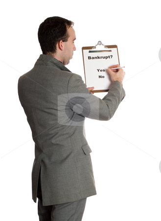 Bankruptcy Poll stock photo, The backside view of a businessman taking a bankruptcy poll, isolated against a white background by Richard Nelson
