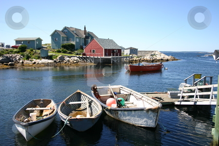 Peggy's Cove, Nova Scotia stock photo, A view of the tiny historic village of Peggys Cove in Nova Scotia, Canada.  This scenic coastal fishing village on  is a popular tourist attraction due to the presence of it's famous lighthouse. by Alyce Taylor