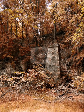 Old Limestone Quarry stock photo, Old Limestone Quarry- Stones were taken from here to build Fort Belle Fontaine - St. Louis County, Missouri by W. Paul Thomas